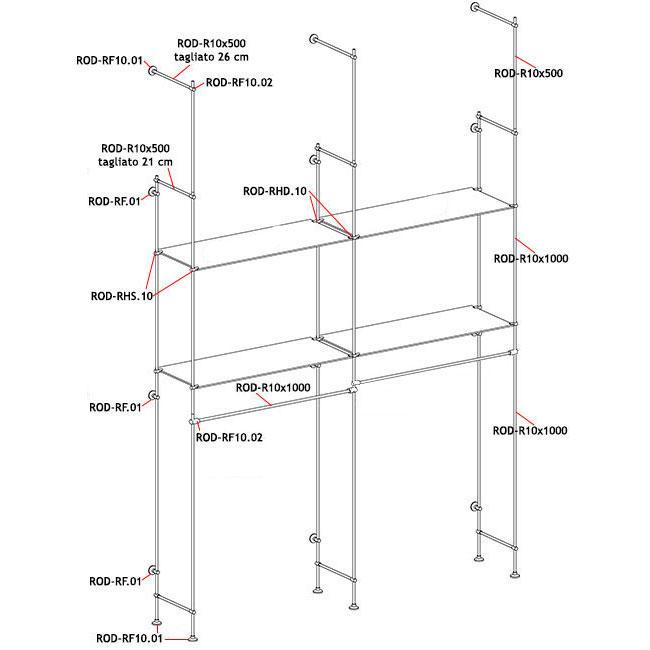 Scaffale con quattro piani in vetro temperato e due tubi for Piani a quattro piani